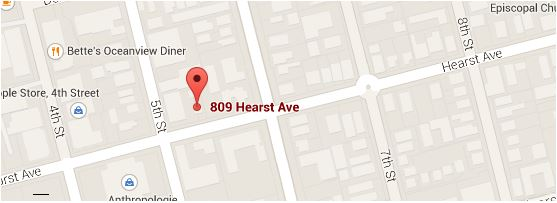 We are located at 809 Hearst Ave. between 5th and 6th Streets in West Berkeley