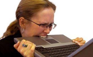 Berkeley Accupunture Lady biting her laptop